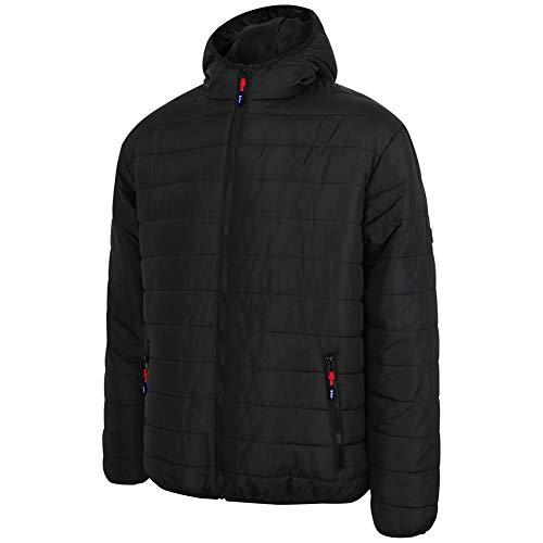 Lee Cooper LCJKT454 abbigliamento da lavoro Mens Full Zip termica abbigliamento da lavoro con zip con cappuccio imbottito trapuntato cappotto del rivestimento, nero, Media