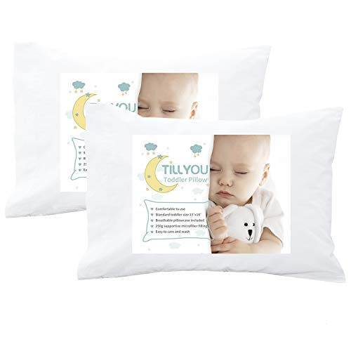 "Pack of 2 TILLYOU Toddler Travel Pillows with Pillowcases Machine Washable Kids Pillows for Sleeping 13""x18"" 100% Soft Cotton Cases2 Fits Toddler Nap Cot/Baby Crib Bed Portable Mini Size"