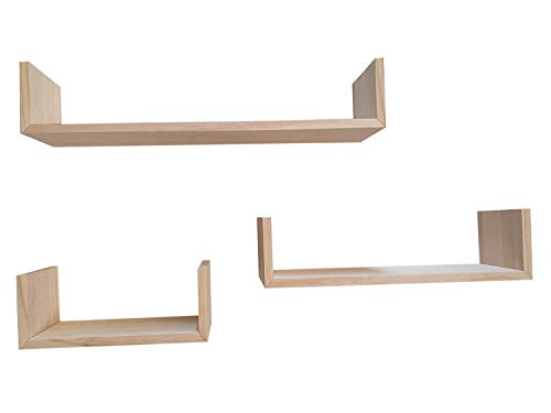 Muebles Pejecar Juego de 3 estanterias de Pared Fabricado en Madera de Pino alistonado Acabado en Crudo