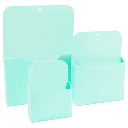 Magnetic File Holders Set, 3 Sizes (Mint, 3 Pack)