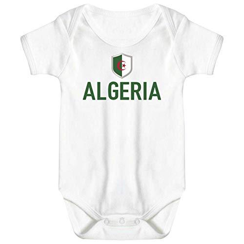 FanShirts4u Länder Baby Body - ALGERIEN ALGERIA - inkl. Druck Name & Nummer WM Trikot (3-6 Monate, Weiß/ALGERIA)