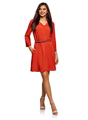 oodji Ultra Damen Viskose-Kleid mit Gürtel, Orange, DE 40 / EU 42 / L