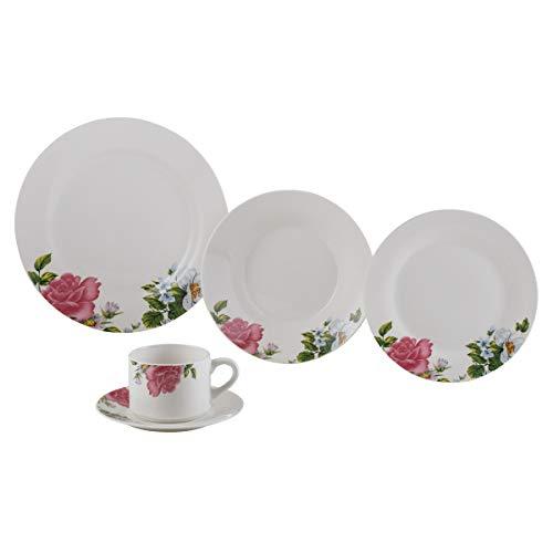 Aparelho de Jantar 20 Peças de Porcelana Roses Lyor Branco Único