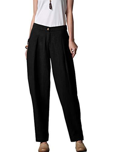Mallimoda Pantalon Femme Lin Coton Baggy Casual Carotte Sarouel Taille Elastique Trousers Noir M