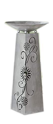 Homeshop metalen standaard met uitsparingen compleet met schaal in antiek zilver