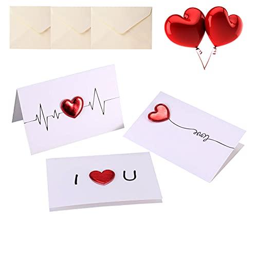 """3 biglietti d'auguri fatti a mano con cuori rossi """"I Love You"""", biglietti di auguri personalizzati con busta per lei, mariti, mogli, fidanzati, fidanzati per compleanno, San Valentino, anniversario"""