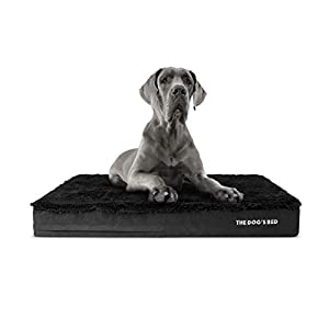 """Replacement Outer Cover ONLY (Outer Cover ONLY – NO Bed, NO Waterproof Inner) for The Dog's Bed, Washable Quality Oxford Fabric, XXL 54"""" x 36"""" x 6"""" (Black Faux Fur)"""