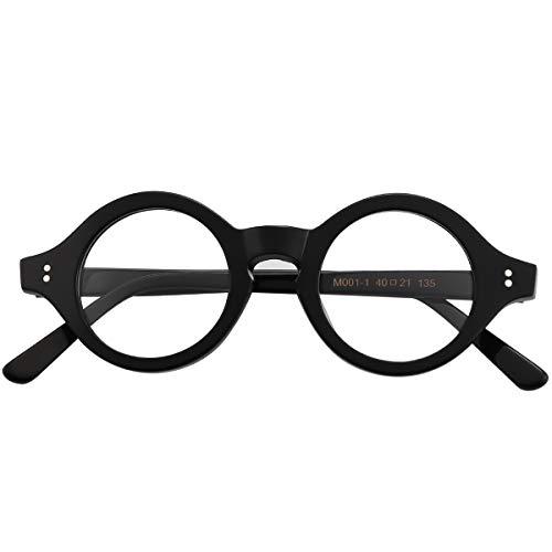 Agstum 手作り アセテート 小型丸型光学メガネフレーム 眼鏡クリアレンズ (黒)