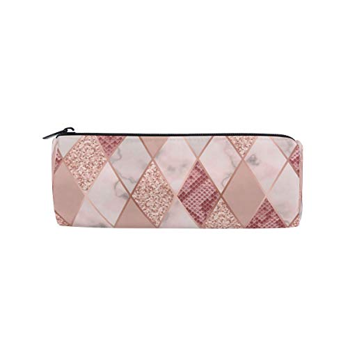 AGONA Pink Marble Geometric Snakeskin Pencil Case Zipper Pencil Pouch Pen Case Office Stationery Bags for Teens Girls Boys Kids College Students
