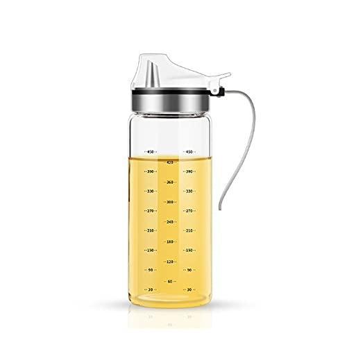 Hanpiyigyh Aceitera, Botella de Aceite de cocción de Vidrio de 500 ml, Cubierta de Flip automática con asa, Acero Inoxidable Verter contenedor de condimento a Prueba de Fugas