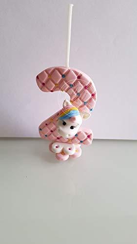 Vela decorada porcelana fría Tema Unicornio Cumpleaños tarta