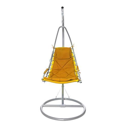 KASANOVA Poltrona a Dondolo Sospesa con Braccio in Metallo - Dondolo con Seduta Oscillante - 1 Seduta - 90x192x90 cm - Portata max: 90 kg - Colore Giallo