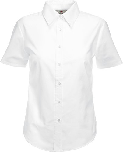 Fruit of the Loom – Damenbluse Oxford, kurzarm, Mädchen damen, Bianco - bianco