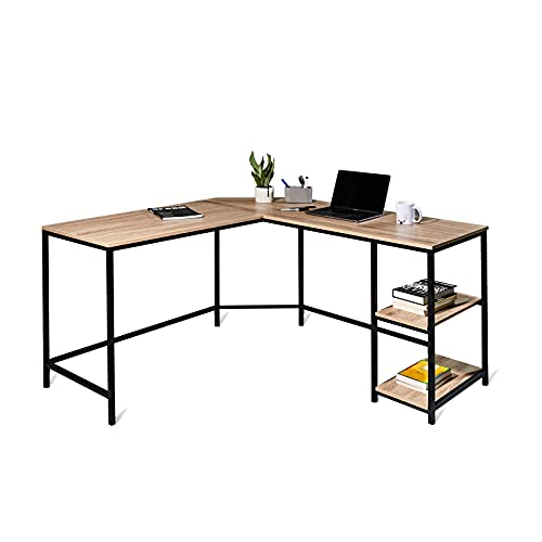 Hoorlang L shaped Computer Desk for Home Office Gaming Desk,Sturdy Corner Working or Writing Table, Laptop Desk Work Table Easy to Assemble Workstation with Storage Shelves, Contemporary Oak-54