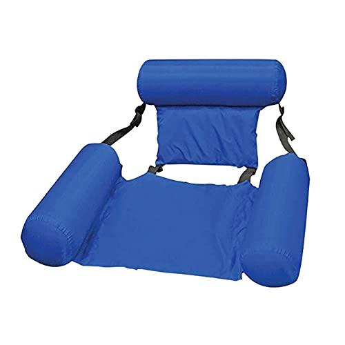 Riyyow Cama Flotante Float Lounge Cama de Agua Piscina Plegable Ajustable con Respaldo Inflable Hamaca Silla Colchón de Aire Inflable (Color: Azul)