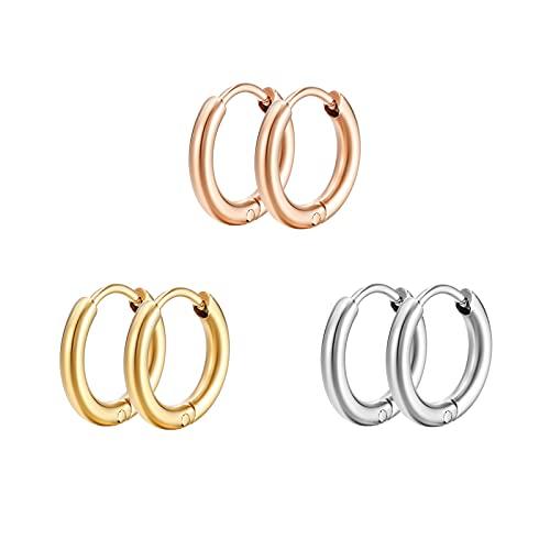 HELFNE Pendientes de aro de oro de 14 quilates hechos a mano para mujer, oro real, pequeños aros de plata con hipoalergénicos, juego de aretes de aro de moda para orejas sensibles
