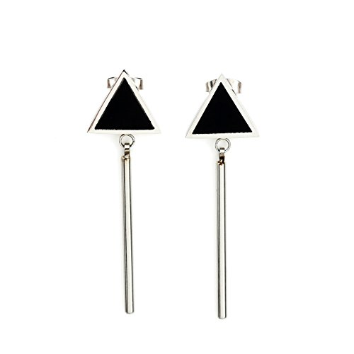 Sleek Geometric Silver (White Gold) Tone Post Earrings with Contemporary Dangling Bar Design and Faux Onyx Inlay (160028)