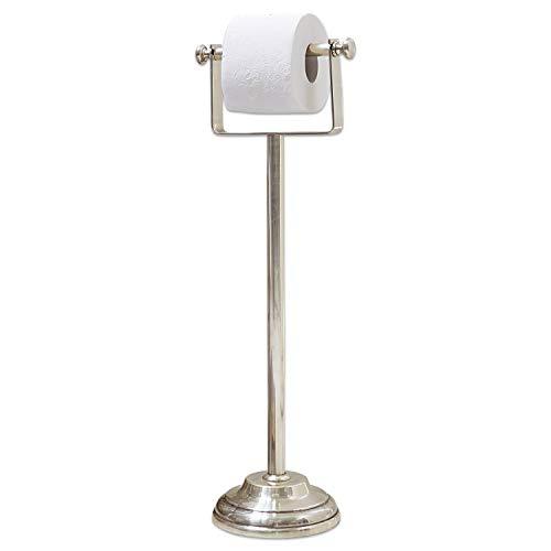 Loberon Toilettenpapierhalter Corinne, Messing, H/B/T 67,5/16,5/22,5 cm, Silber