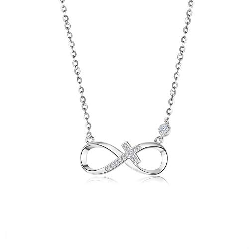 BDD CO. Infinity Necklaces, 925 Sterling Silver Necklaces for Women, Infinite Love, Girls Necklaces Adjustable, White Necklaces