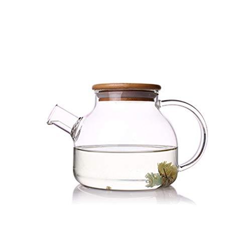 QAX Jarra de cristal con tapa, jarra de cristal con mango y boquilla, para zumo de té helado, limonada, sangría, agua de frutas, 1000 ml