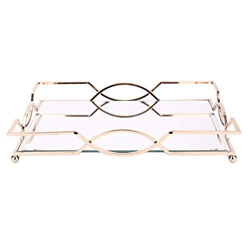 ミラートレイ 装飾トレイ 美しい近代的なエレガントなゴールドの真鍮長方形装飾コーヒーテーブル香水 キャンドル香水石鹸シャンプー用 (色 : Gold, Size : 30.5x23.5x6cm)