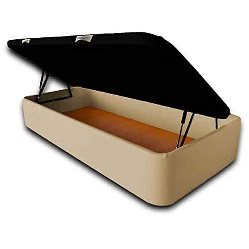 Ventadecolchones - Canapé Abatible Apertura Lateral Serena Gran Capacidad Tapizado en Polipiel Crudo Medidas 90 x 190 cm con Tapa en Tejido 3D