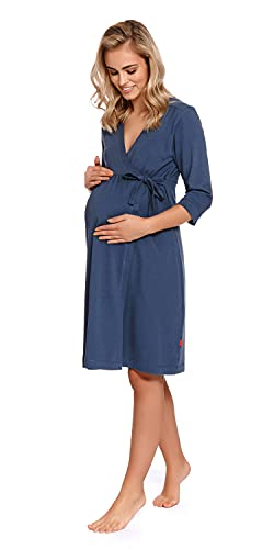 Doctor Nap - Bata de maternidad para mujer, función de lactancia, hospital azul oscuro L
