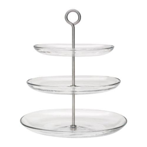 IKEA KVITTERA サービングスタンド3段 クリアガラス/ステンレススチール