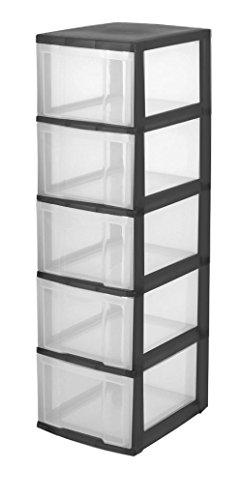 Iris Ohyama, Schubladenschrank auf Rollen / Rollcontainer - New Chest NMC-305 - plastik, schwarz, 5 x 15 L, L30 x B38 x H99 cm