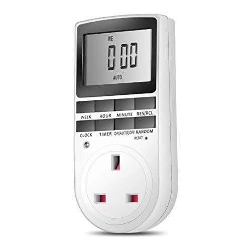 Swiftswan - Temporizador electrónico digital con interruptor de encendido, pantalla LCD digital, ahorro de energía, programable, interruptor de tiempo inteligente blanco