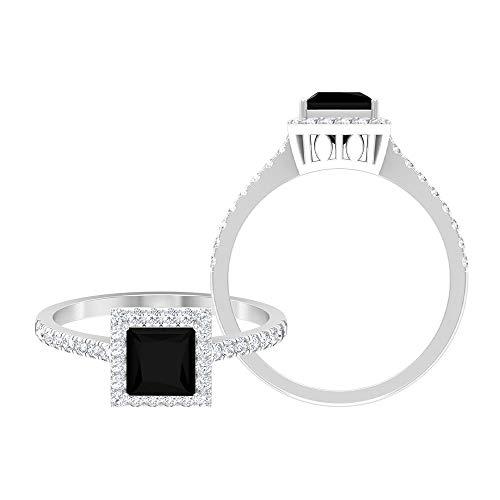 Anillo de compromiso de 1,25 CT creado en laboratorio de diamantes negros con acento moissanita (5,50 mm, 14K Oro blanco, Size:EU 50