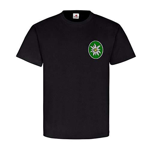 Gebirgsjäger Blume Eine Edelweiß Pflange Bergsteiger Jäger Alpen T Shirt #15957, Größe:XL, Farbe:Schwarz
