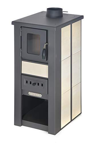 acerto 20133 LAVA Kaminofen Ceramic CREME 35x44x82 cm - Premium Holzofen für Holz, Briketts & Kohle - Kompakter Holzofen für Kamin-Anschluss mit 8,5kW Heizleistung