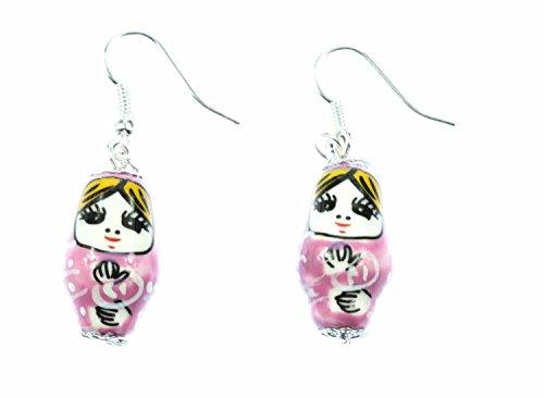 Miniblings Matroschka Ohrringe Hänger Babuschka russische Puppe Porzellan rosa - Handmade Modeschmuck I Ohrhänger Ohrschmuck versilbert