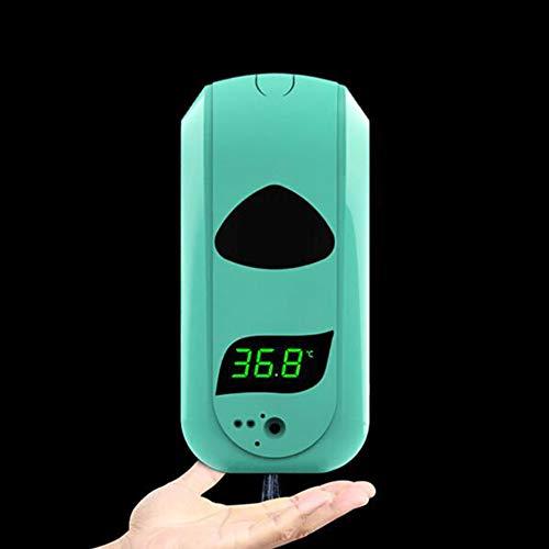 QS 2 en 1 Automático Jabón Sensor + Montado Pared Termómetro Infrarrojos, Desinfectante Manos Dispensador para Oficinas Hogares Tiendas 1200ML