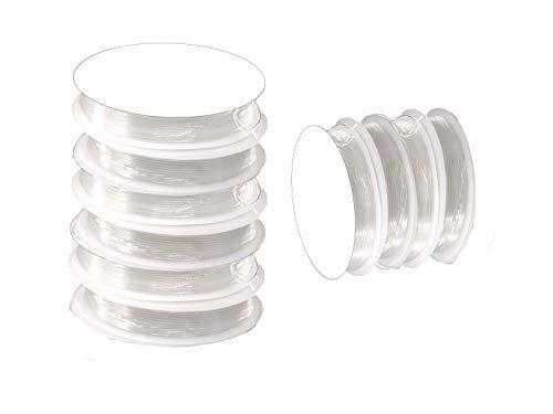 Creative-Beads Elastische nylondraad elastiek transparant-wit voor armband sieraden zelf maken knutselen garen 50 m (10 rollen à 5 m) 1 mm dikte