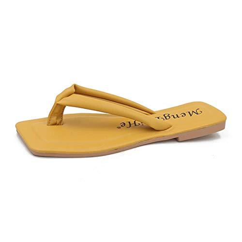 Erotische Dessous Cosplay Sommer Neue Flip-Flops Frauen Wilde Candy Farbe Urlaub Strand Flip-Flops Fairy Sandalen und Pantoffeln-gelb_39