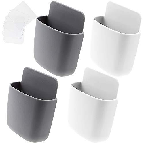 KingYH 4 Stück Fernbedienung Halter Organizer Selbstklebende Fernbedienung Halter aus ABS und PP Wandhalterung Organisator Aufbewahrungsbox für Handy Fernbedienung Ladegerät Schalter (weiß grau)