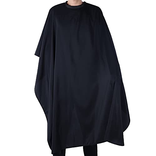 Black Salon Hair Cutting Gown Barber Cape Cloth, Waterproof Hairdressers Gown for Hair Styling, Cutting and Coloring Styling