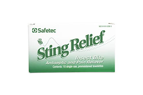 Safetec Sting Relief Wipe 10 ct. Box (100 Boxes/case) - for Relief from Pain and Itching Caused by Insect Stings and Bites