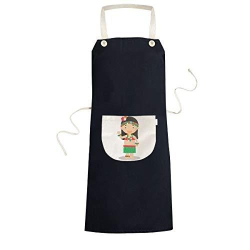 Mooie Meisje Hawaii Cartoon Koken Keuken Zwarte Bib Schorten Met Pocket voor Vrouwen Mannen Chef Geschenken
