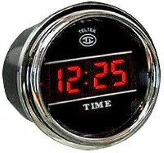Digital Clock Gauge for Any Semi, Pickup Truck or Car - Bezel: Chrome - LED Color: Blue