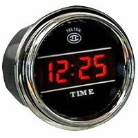 Digital Clock Gauge for Any Semi, Pickup Truck or Car - Bezel: Chrome - LED Color: Blue