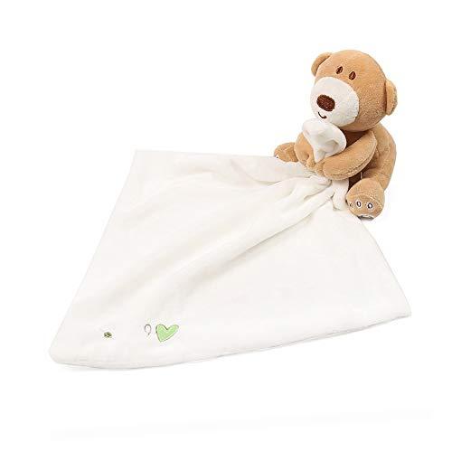 Baby Appease Handtuch Entzückende weiche quadratische Tuch Sicherheitsdecke Plüsch-Karikatur-Tier befriedet Handtücher Tröster Schlafenszeit Cuddle Toy Babyspielzeug Weiß