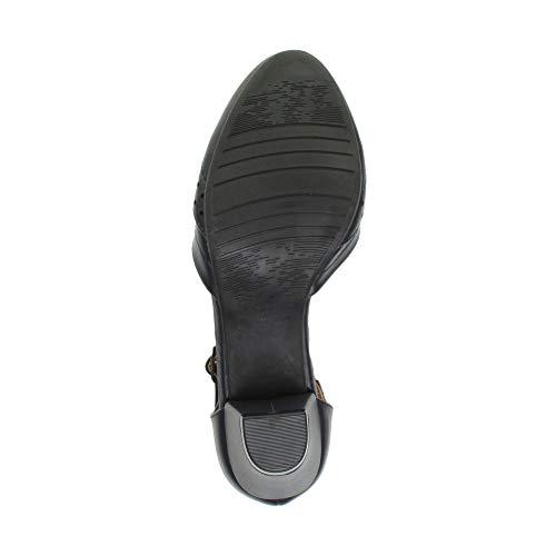 Damen Mitte Blockabsatz T-Riemen Ausgeschnitten Brogues Pumps Sandalen Größe 7 40 - 8