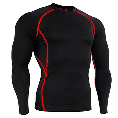 Shirt Deportiva Hombres Verano Cuello Redondo Empalme Hombres Correr Shirt Básica Ajustada Elástica Manga Corta Hombres Shirt Muscular Senderismo Fitness Hombres Shirt Compresión E-Red2 S