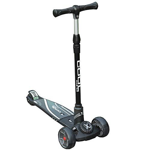 LJHBC Patinete Scooter para niños Plegable de Tres Ruedas con Barras de Mango Ajustables adecuadas para niños a Partir de 6 años y Adultos hasta 90 kg (Color : Black)