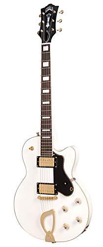 Guild Guitars Aristocrat HH Solid Body Electric Guitar, Snowcrest White, Harp Tail, Newark St. Collection