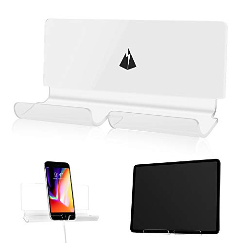 TXesign Adhesive Wall Phone Tablet Holder Mount Stand for Tablet Smartphones eReader Wall Holder Mount (Silky White & Transparent)