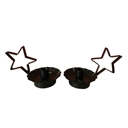 CVHOMEDECO. Craft Outlet Primitif Noir étoile pour Bougie. 17,8 x 10,2 x 10,2 cm, Lot de 2.